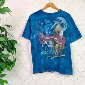 Blue Tie-Dye American Flag Wolves Graphic Tee